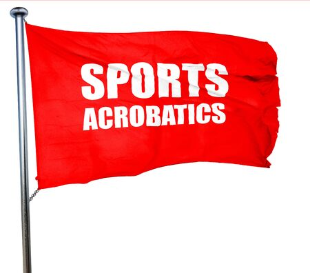 acrobatics: sports acrobatics sign background with some soft smooth lines, 3D rendering, a red waving flag Stock Photo