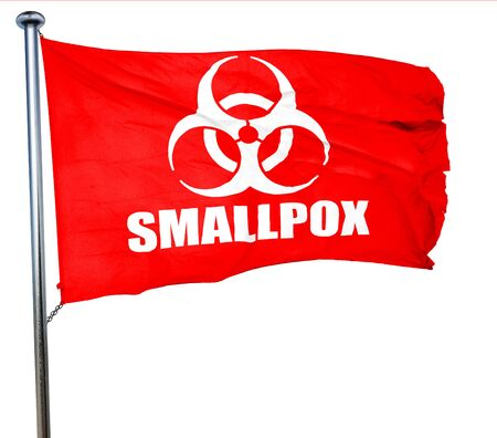 smallpox: smallpox concept background with some soft smooth lines, 3D rendering, a red waving flag