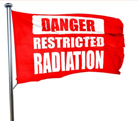 uranium radioactivity: Nuclear danger background on a grunge background, 3D rendering, a red waving flag