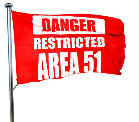51: area 51 sign with some soft flowing lines, 3D rendering, a red waving flag