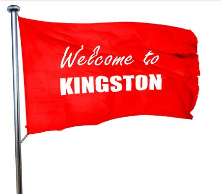 kingston: Welcome to kingston with some smooth lines, 3D rendering, a red waving flag