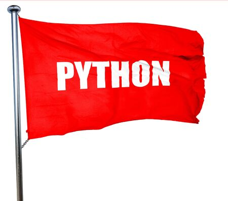 computer language: python computer language, 3D rendering, a red waving flag Stock Photo