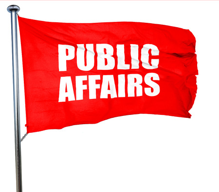 public welfare: public affairs, 3D rendering, a red waving flag
