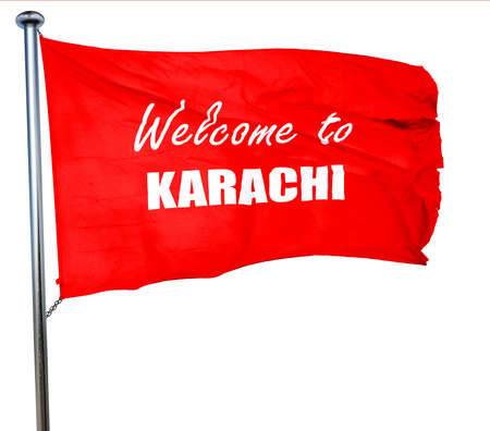 karachi: Welcome to karachi with some smooth lines, 3D rendering, a red waving flag Stock Photo
