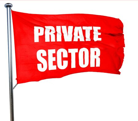 private domain: private sector, 3D rendering, a red waving flag Stock Photo