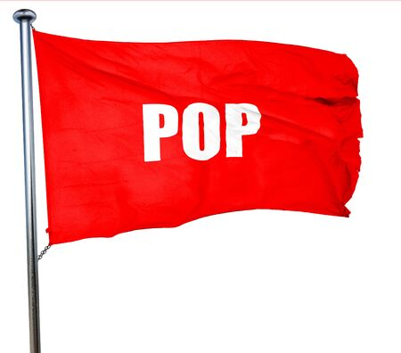 music 3d: pop music, 3D rendering, a red waving flag Stock Photo