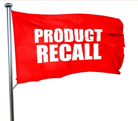 recall: product recall, 3D rendering, a red waving flag