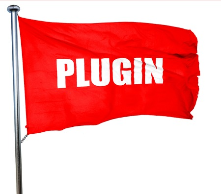 plugin: plugin, 3D rendering, a red waving flag Stock Photo