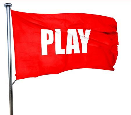 play acting: play, 3D rendering, a red waving flag