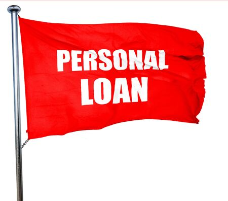 banking problems: personal loan, 3D rendering, a red waving flag Stock Photo