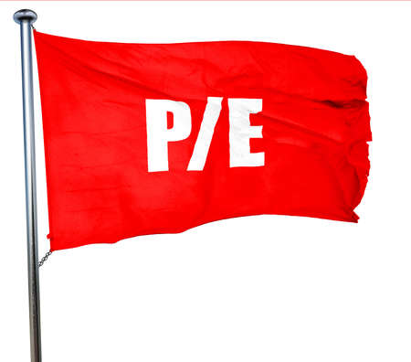 future earnings: pe, 3D rendering, a red waving flag
