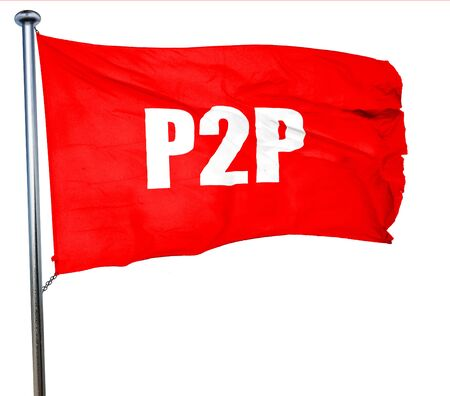 p2p: p2p, 3D rendering, a red waving flag Stock Photo