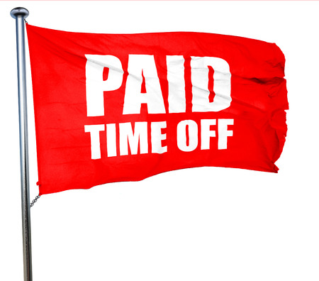 compensated: paid time off, 3D rendering, a red waving flag Stock Photo