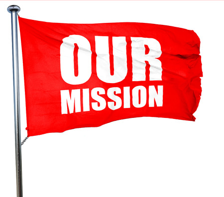 our company: our mission, 3D rendering, a red waving flag Stock Photo