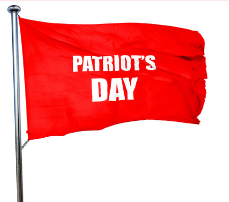 patriots: patriots day, 3D rendering, a red waving flag Stock Photo