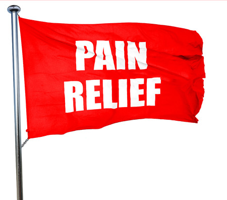 relieved: pain relief, 3D rendering, a red waving flag
