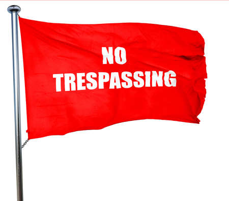 trespassing: No trespassing sign with black and orange colors, 3D rendering, a red waving flag Stock Photo
