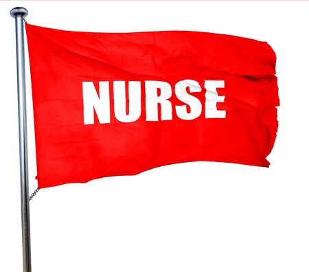 3d nurse: nurse, 3D rendering, a red waving flag Stock Photo