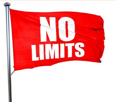 no limits: no limits, 3D rendering, a red waving flag