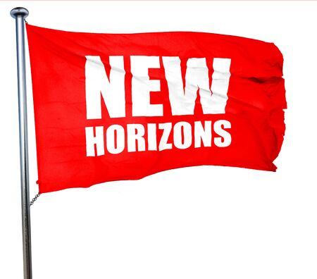 new horizons: new horizons, 3D rendering, a red waving flag