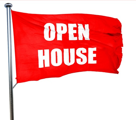 Open house sign with some soft smooth lines, 3D rendering, a red waving flag