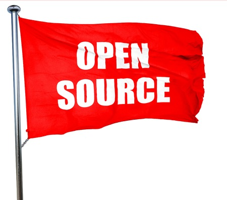software portability: open source, 3D rendering, a red waving flag Stock Photo