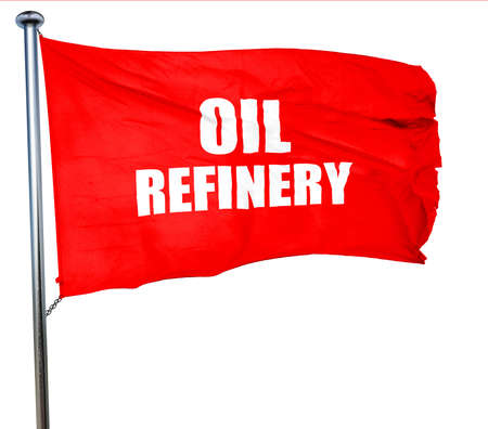 isolation tank: oil refinery, 3D rendering, a red waving flag