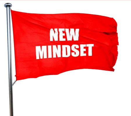 new mindset, 3D rendering, a red waving flag Stock Photo
