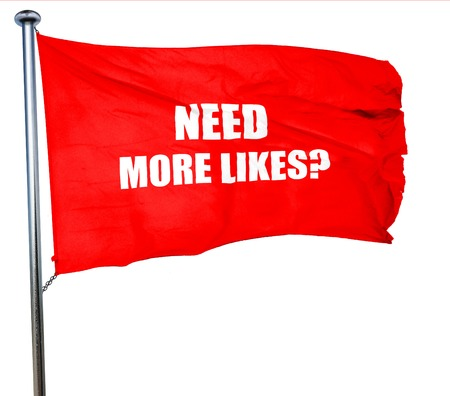 profile measurement: need more likes, 3D rendering, a red waving flag Stock Photo
