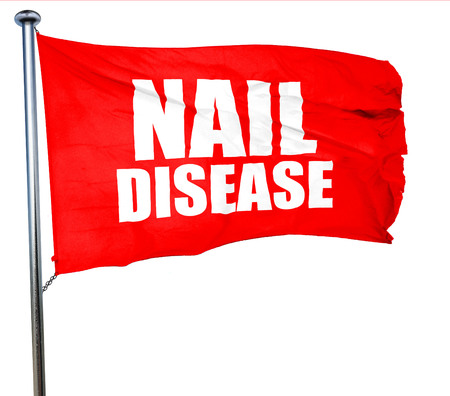toenail fungus: nail disease, 3D rendering, a red waving flag Stock Photo