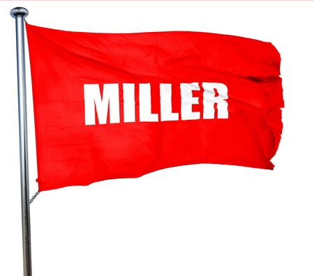 miller: miller, 3D rendering, a red waving flag