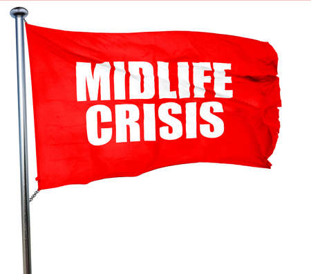 midlife: midlife crisis, 3D rendering, a red waving flag