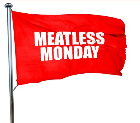 meatless: meatless monday, 3D rendering, a red waving flag