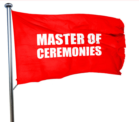 master degree: master of ceremonies, 3D rendering, a red waving flag Stock Photo