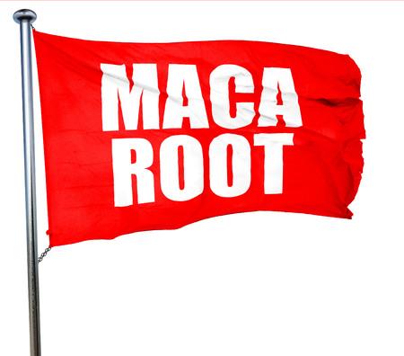 maca: maca root, 3D rendering, a red waving flag Stock Photo
