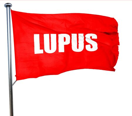 lupus: lupus, 3D rendering, a red waving flag