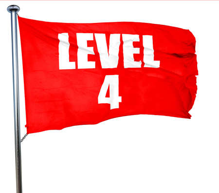 xp: level 4, 3D rendering, a red waving flag Stock Photo