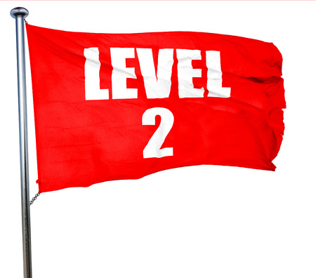 xp: level 2, 3D rendering, a red waving flag