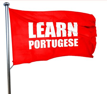 portugese: learn portugese, 3D rendering, a red waving flag Stock Photo
