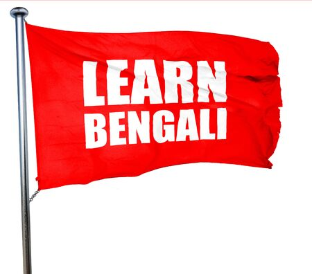bengali: learn bengali, 3D rendering, a red waving flag