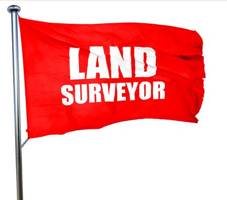 land surveyor: land surveyor, 3D rendering, a red waving flag Stock Photo