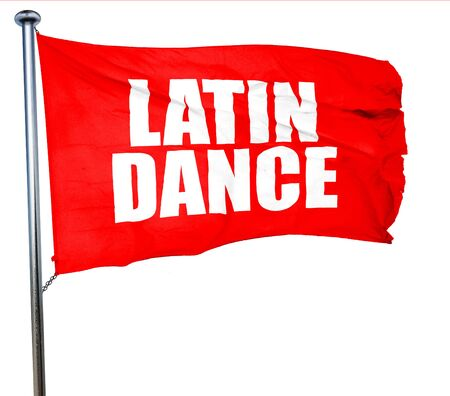 3d dance: latin dance, 3D rendering, a red waving flag