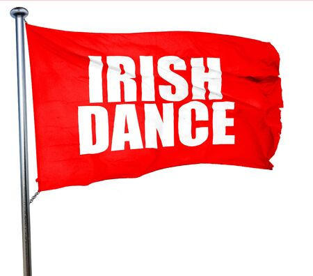 triskele: irish dance, 3D rendering, a red waving flag Stock Photo