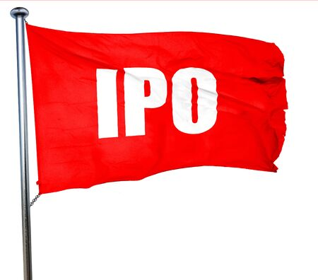 initial public offerings: ipo, 3D rendering, a red waving flag Stock Photo