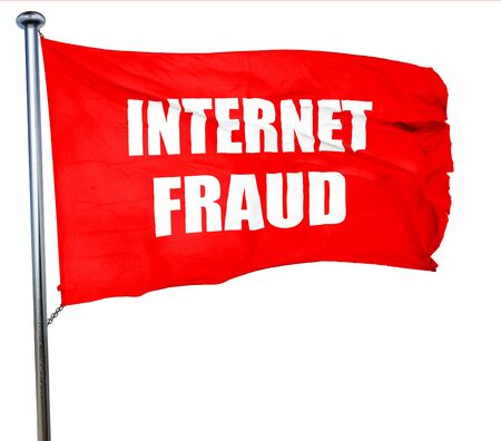 internet fraud: Internet fraud background with some smooth lines, 3D rendering, a red waving flag