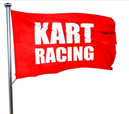carting: kart racing, 3D rendering, a red waving flag