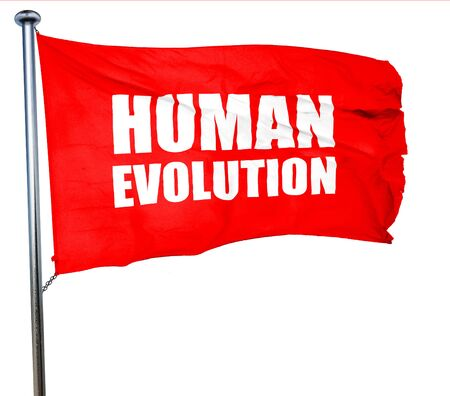 human evolution: human evolution, 3D rendering, a red waving flag