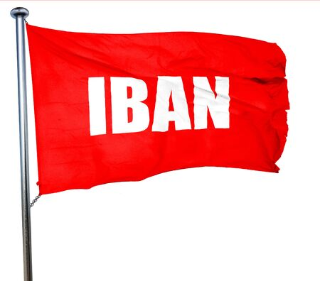 international bank account number: iban, 3D rendering, a red waving flag