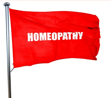 homeopatia: homeopathy, 3D rendering, a red waving flag