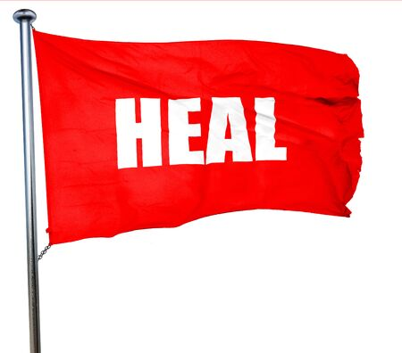holistic care: heal, 3D rendering, a red waving flag